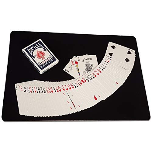 ProTriXX ZAUBERMATTE in Schwarz + Bicycle Deck + 3 KARTENTRICKS die jeden verblüffen, Close-Up Pad für Zaubertricks, Tisch-Unterlage Karten, Micro-Unterlage, Unterlege-Matte