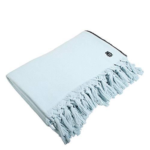Sunny-Decke – weiche, leichte Decke aus Baumwolle für Sofa, Terrasse und Garten – Plaid mit Fransen - 160x200 cm – 515 water – von 'zoeppritz since 1828'