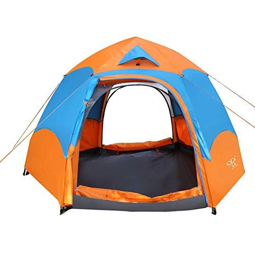 Outdoor-campingtent, dubbellaags Hexagon waterdicht familiefeesttent voor 3 personen, automatische regenbestendige tent