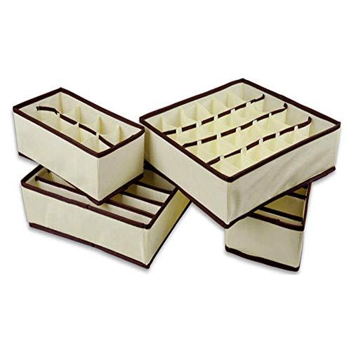 OMKMNOE 4 Stück Aufbewahrungsboxen Mit Deckel Unterwäsche Organizer für Faltbare Schubladen Organizer zum Aufbewahren von Socken, Schals, Büstenhalter,Grau
