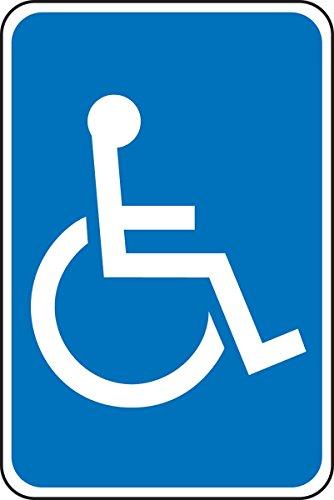 Fhdnagfds Signs Fra229ra Schild für Behindertenparkplatz, aus Aluminium, reflektierend, Motiv: Legende (Rollstuhl-Symbol), 45,7 x 30,5 cm, Weiß auf Blau