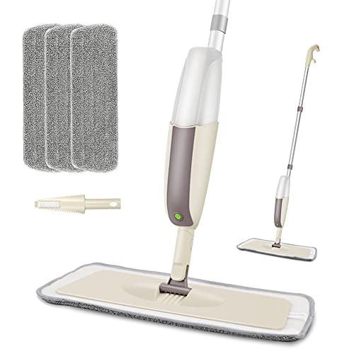 Spray Mop - MEXERRIS Microfiber Mop Spray Cleaner for Floors with 3 Pads and 300Ml Refillable Bottle Suitable for Hardwood, Marble, Tile, Laminate, or Ceramic Floors