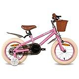 HILAND Bicicleta infantil de 14 pulgadas de ins Star, para niñas de 3 a 6 años, con ruedas de apoyo, freno de mano y freno de contrapedal, color rosa