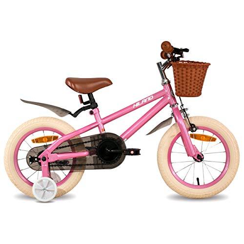 HILAND ins Star 16 Zoll Kinderfahrrad für Mädchen Jungen 4-7 Jahre mit Stützräder, Handbremse und Rücktritt rosa