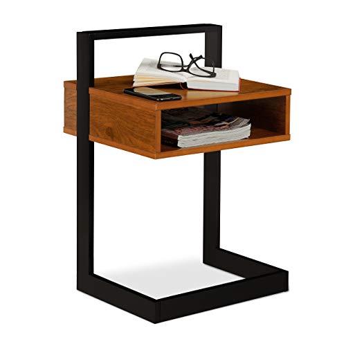 Relaxdays Beistelltisch, eckiger Nachttisch mit Fach, Walnuss Optik, Retro Design, HBT 60,5 x 40 x 34 cm, braun/schwarz