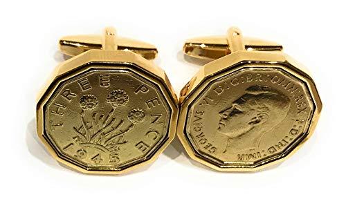 HT - Premium 1945 Threepence cufflinks for a 75th Birthday cufflinks