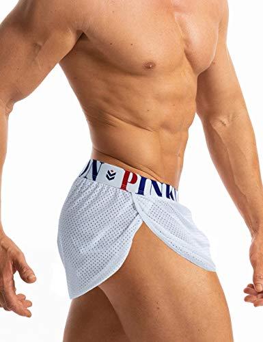 MIZOK Men's Slit Side Bodybuilding Shorts Breathable Mesh Workout Yoga Short (White,XL)