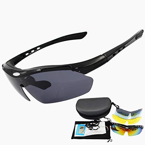 PGZLL Gafas De Sol Deportivas, Gafas De Bicicleta De MontañA, ProteccióN Uv400, Adecuadas para Hombres Y Mujeres Que Corren, Pescan, Conducen, Al Aire Libre (Equipadas con 5 Lentes Intercambiables)