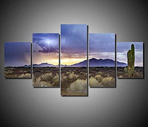Laimi 5 pezzi su tela da parete per pittura murale con fulmini nel deserto montagna cactus HD 5 pannelli per arte moderna della parete per la casa camera da letto decorazione con cornici