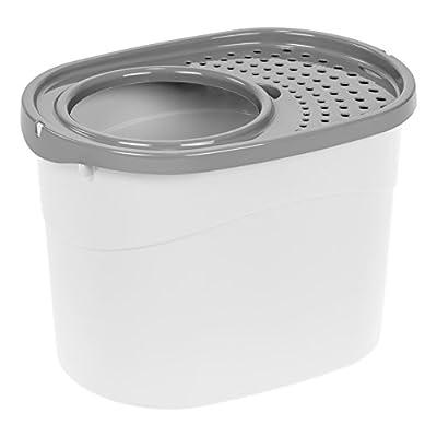 IRIS USA Top Entry Cat Litter Box, White/Gray TECL-20
