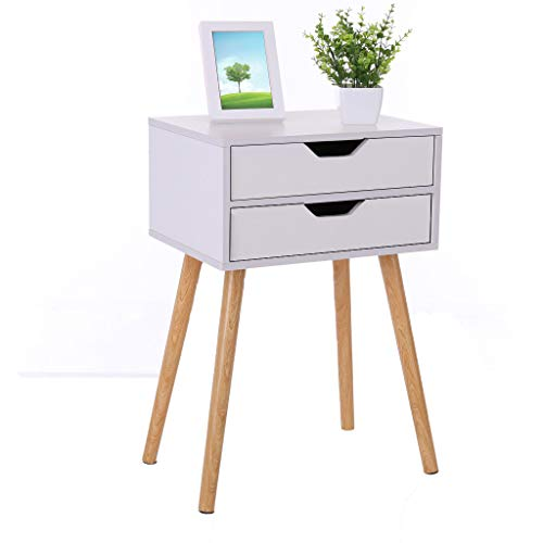 Iusun Bedside Table,Slim Locker Single/Double Drawer Nightstand Assemble Storage Cabinet Bedroom Wooden Table Legs Handle Prevent Moisture for Bed Home Household Office-Ship from USA (A)