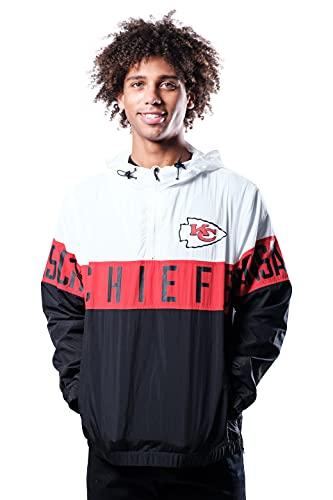 Ultra Game NFL Kansas City Chiefs Mens Quarter Zip Packable Hoodie Windbreaker Jacket, White, Medium
