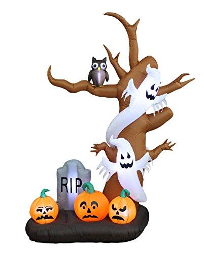 BZB Goods Aufblasbarer Baum mit Geistern, Kürbissen, Eule und Grabstein, LED-Lichter, Dekoration für drinnen und draußen, ca. 2,7 m hoch