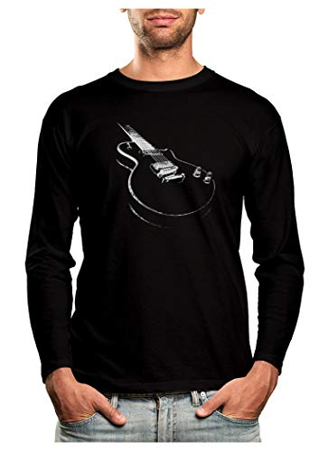 Gift for Guitarist - Cool Musician Electric Guitar Printed Long Sleeve T-Shirt X-Large Black