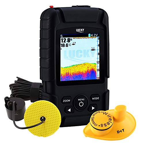 2-in-1 LUCKY Rechargeable Fishfinder Depth Wireless 147ft (45m) Transducer Depth 328ft (100m) Waterproof Fish Finder for Fisherman & Fishing Enthusiast