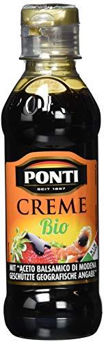 Ponti Creme mit Aceto Balsamico di Modena I.G.P. Bio 1x200ml – typisch italienische Balsamico Creme – feine Creme mit Aceto Balsamico di Modena I.G.P. Bio - vollmundige, süß-säuerliche Geschmacksnote
