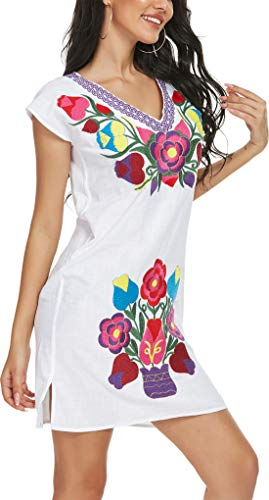 YZXDORWJ Women V Neck Embroidered Mexican Peasant Dress (VD3044-WPU, M)