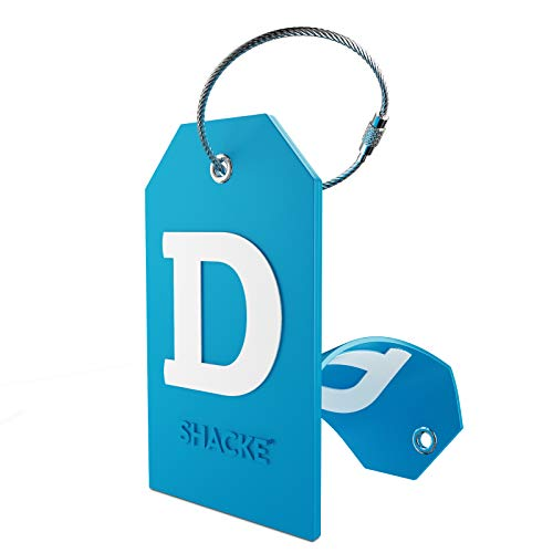 Initial Luggage Tag with Full Privacy Cover and Stainless Steel Loop (Aqua Teal) (D)