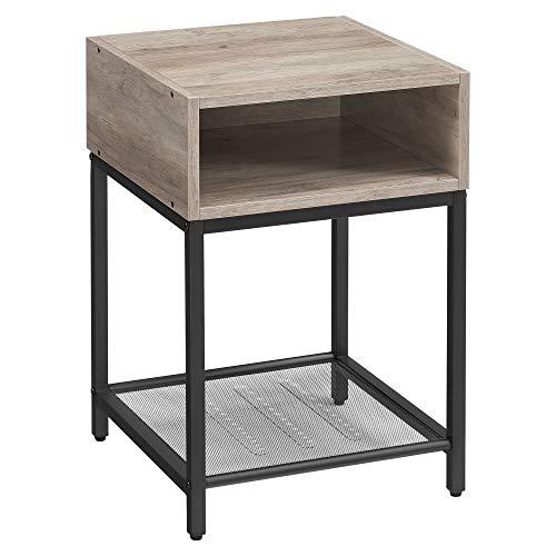 VASAGLE Nachttisch, Beistelltisch mit offenem Fach und Gitterablage, Wohnzimmer, Schlafzimmer, einfacher Aufbau, platzsparend, Industrie-Design, Greige-schwarz LET046B02