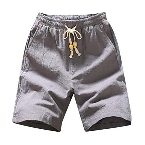 Herren Leinen Baumwolle Shorts/Skxinn Männer Sommer Solid Strandhosen Casual Elastische Taille Klassische Passform Hosen Kurze Hosen M-5XL Ausverkauf(Grau-1,Large)