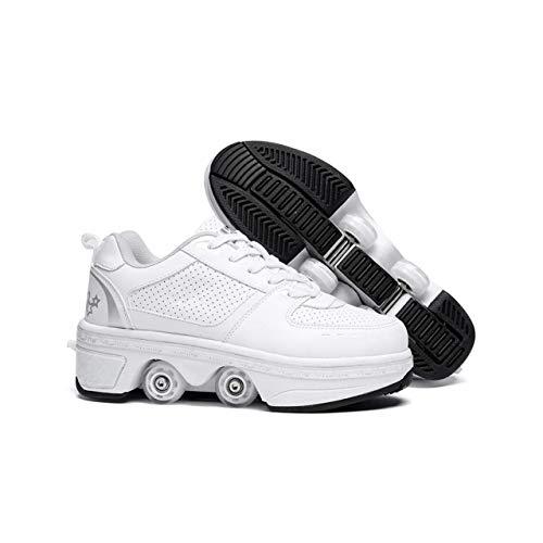 ZXSZX Rollschuhe Mädchen Roller Skates Damen Skate Roller,-in-1- Skate Schuhe Sportschuhe multifunktionale Deformation Schuhe für mädchen unsichtbare Schuhe fersenroller Kinder,A-38