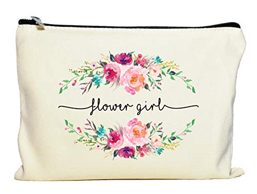 Flower Girl Makeup Bag, Flower Girl Gift, Bridal Party Favor, Cosmetic Pouch,...
