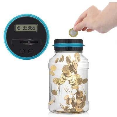 OverTop Elektronische Digital-Zählmünzen-Spardose, LCD-Display, Sparschwein, Euro-Geschenk für Kinder