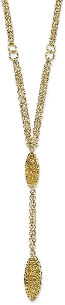 14k Yellow Gold Fancy Y Diamond-cut Drop Necklace, 16.75