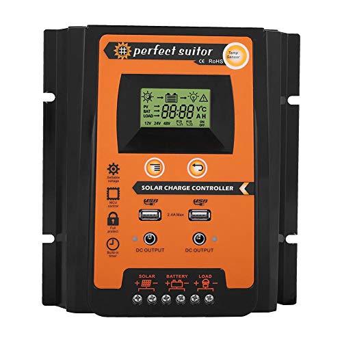 Akozon Charge Controller Solar Panel Smart MPPT Wasserdichter 12V/24V Solarladeregler Dual USB mit LCD-Anzeige(50A)