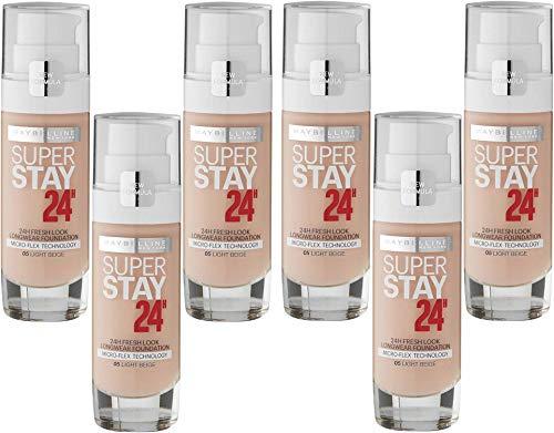 Super Stay Fond de Teint Frais Impeccable 24 H - 05 beige clair, lot de 6 (6 x 30 ml)
