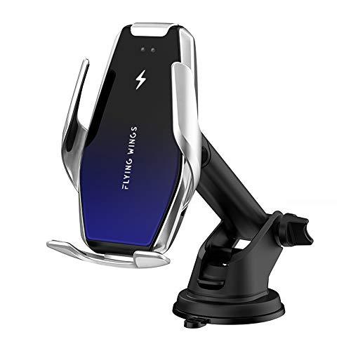 Yianerm Abrazadera automática Cargador de Coche inalámbrico Soporte para teléfono móvil, 2 en 1 Qi 15W/10W/7.5W Soporte para teléfono inductivo (Plata)