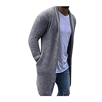 TWGONE Cardigan for Men Long Solid Streetwear Long Sleeve Knitted Sweaters Autumn Overcoat with Pockets XXX-Large,Gray