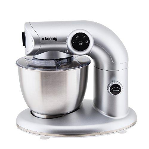 H.Koenig KM80 Küchenmaschine / 5 L Schüssel aus Edelstahl / bis zu 2kg Teig / 3 Aufsätze / 1000 W / 4 Geschwindigkeitsstufen / silber