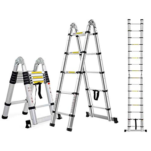 ALYR A-Frame Escalera Telescópica, Telescópica Escalera Multiusos Extensible Pesada Stepladder Capacidad de Carga 150kg / 330lb para Home Office Loft,8.20ft/5m=2.5m+2.5m
