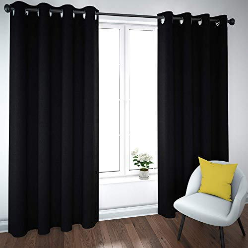 ANUWAA Blackout Curtains Panels, 84Inchs Linen Insulated 100% Blackout Window Curtain Drape with Grommets for Bedroom/Living Room, Black, 52x84Inch, 2 Panels