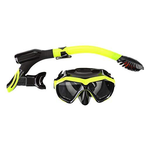 TANKE Máscara de Snorkel - Máscara de Buceo antivaho Juego de Snorkel Equipo de natación submarina con Tubo seco Completo, Amarillo y Negro