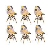 BenyLed Pack 6 Sillas de Comedor de Tela con Patas de Mmadera de Haya, Sillas Patchwork de Estilo Nórdico (Yw-6pcs)