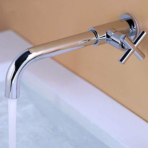 Faucet Faucets Black Defense Splash In-wall Alargar Trapeador Grifo de la piscina Grifo de agua Baño frío individual Fuera de la pared Trapeador de cobre para el hogar Piscina (Color: Chrome)