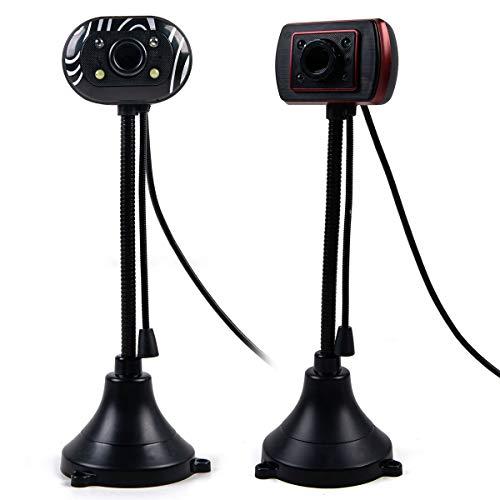 Wallfire - Webcam USB 2.0 portátil 480P Plug n Play para ordenador portátil con micrófono de 5 MP para videoconferencia, enseñanza en línea, juegos (1 unidad con estilo aleatorio)