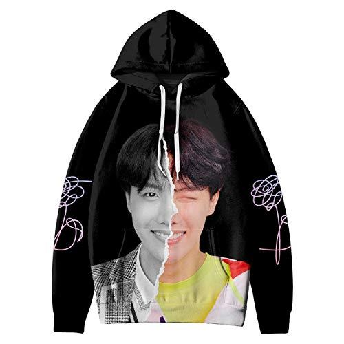 HAIZIVS Kpop BTS Love Yourself Answer J-Hope Unisex Black Kapuzenpullover 3D Digitaldruck Sweatshirt (4X-Large)