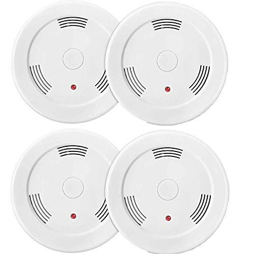 4 Pack Fire Alarms Smoke Detector Battery Operated with Photoelectric Sensor and Silence Button, Travel Portable Smoke Alarms