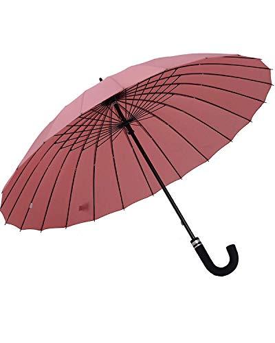 [Amazon限定ブランド] 長傘 レディース傘 高強度24本骨 紳士傘 雨に濡れると花が浮き出る 全14色 (さんご色) ORIENEX