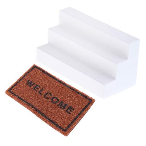 Baoblaze Miniatur Holztreppe & Boden Teppichdecke Teppich für 1/12 Puppenhaus Wohnzimmer Deko Zubehör