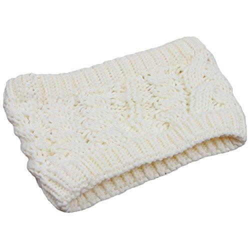 Les filles d'hiver tricoté bandeau tressé oreille plus chaud, blanc crème