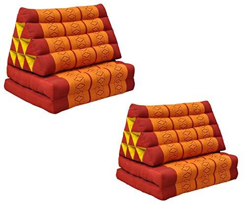 Wilai GmbH Set di 2 Cuscini Triangolo Thai con Piccolo Materasso 2 Pieghe, Fabbricato in Thailandia, Rosso/Arancione (2x81002)