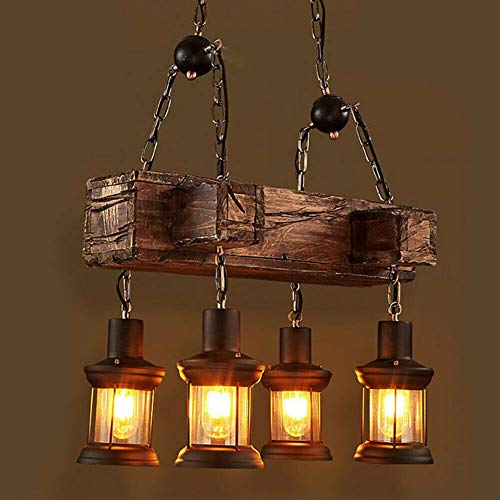 Lampara colgante vintage de madera para mesa de comedor, retro, lampara de techo, arana de madera, lampara colgante de 4 luces, para comedor, cocina, salon, bar, restaurante