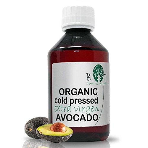 B.O.T Cosmetic & Wellness organisches Avocadoöl kaltgepresst vergine Gesichtsöl Körperöl Haaröl Nägel Öl Babyöl (250 ml)