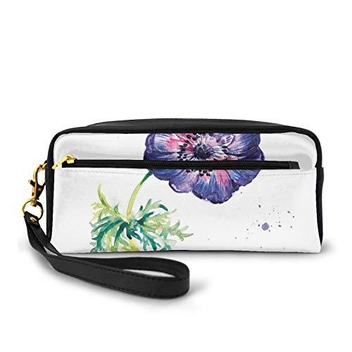 Estuche de piel sintética pequeña,Rama de flores de jardín con salpicaduras de acuarela inspiradas en la naturaleza,Bolsa de maquillaje bolsa