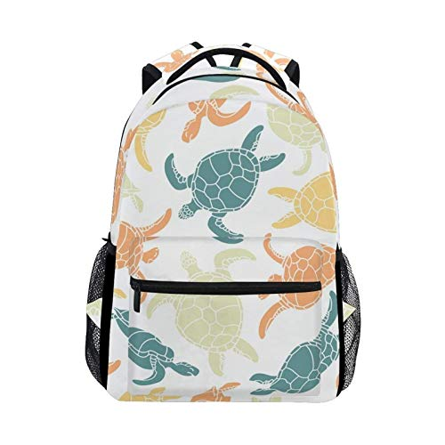 DOUBLE Shoulder Bag Ocean Sea Beach Cute Turtle Tortoise Gift Book Daypack Casual Printed Travel Laptop Student Backpack School Bag College for Men Kids Women Girls Boys