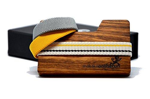 Zebra Holz Visitenkarten & Kreditkartenetui - Slim Wallet Mini Portemonnaie mit Geldklammer - Handgefertigt aus 1 einzigem Stück Zebraholz - Jedes Kartenetuis so individuell wie Ihr Fingerabdruck!